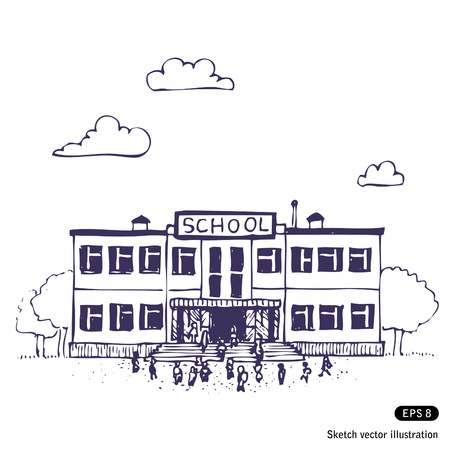 Edificio de la escuela dibujado a mano aislado en blanco