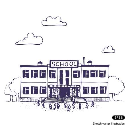 School getrokken gebouw Hand op wit wordt geïsoleerd
