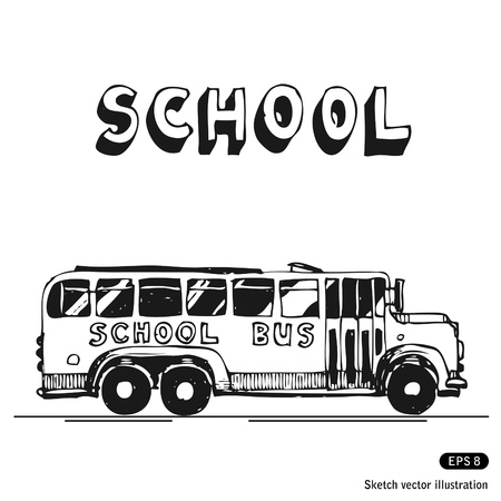 covered wagon:   School bus  Hand drawn isolated on white Illustration