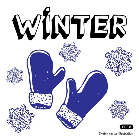 Snowflakes and mittens  Hand drawn isolated on white Stock Vector - 13883169