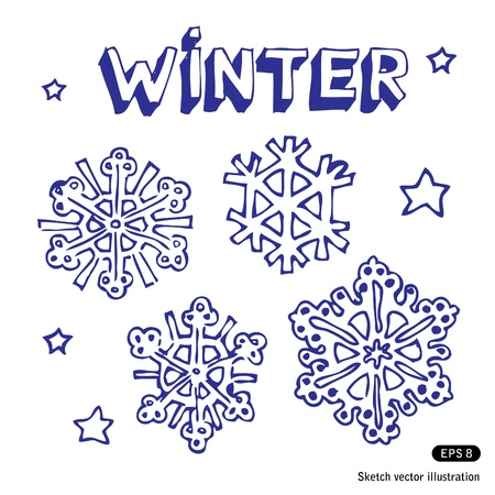 Snowflakes and stars  Hand drawn isolated on white Vector