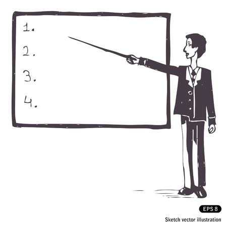 Hand drawn illustration of a student at the blackboard Vector