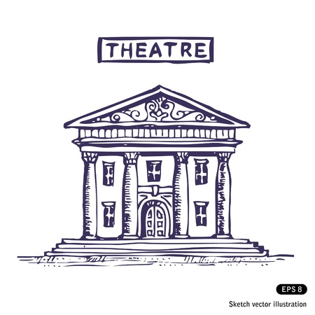 Theatre building. Hand drawn isolated on white Illustration
