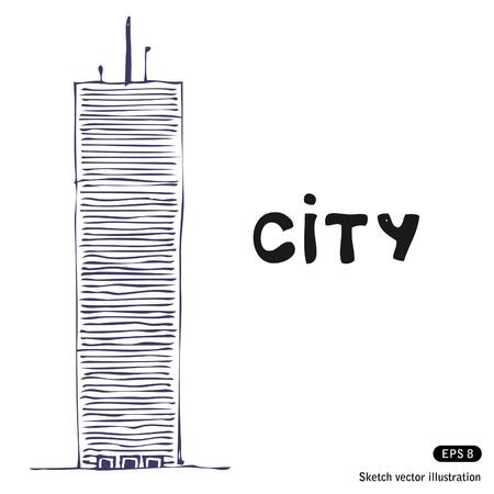 Torre edificio. Dibujado a mano aislado en blanco