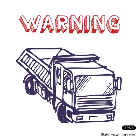 Truck is working. Hand drawn isolated on white Stock Vector - 13883167