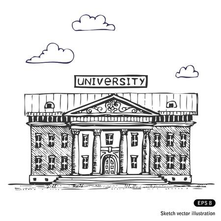 edificio escuela: Universidad edificio dibujado a mano Vectores