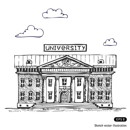 University building  Hand drawn  Vector