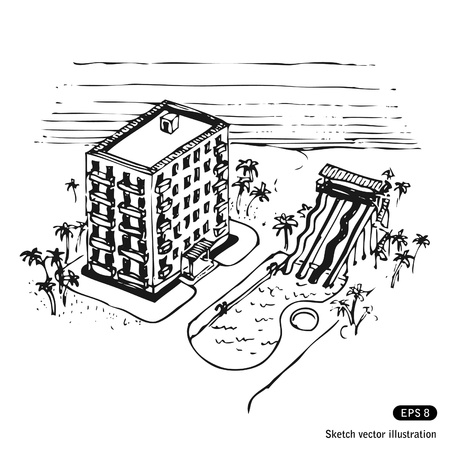 pensils:   Vacation hotel and swimming pool by the ocean   Illustration