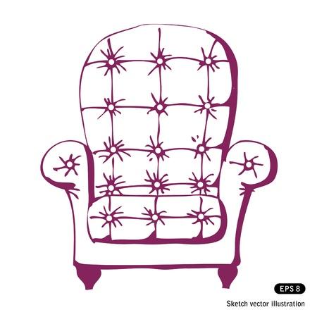 leather chair: Sedia disegnata a mano d'epoca isolato su sfondo bianco