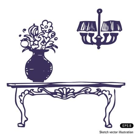 Vintage stół, wazon z kwiatami i żyrandol
