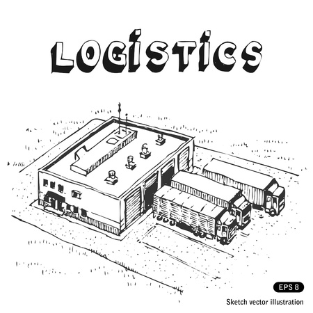 stockroom:   Warehouse and trucks  Hand drawn  Illustration