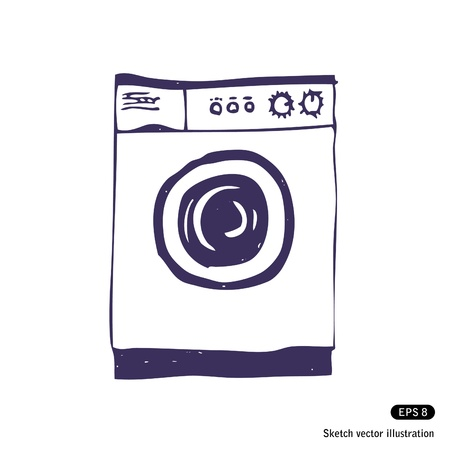 laundry concept:   Washing machine  Isolated  Hand drawn