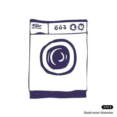 textile machine:   Washing machine  Isolated  Hand drawn