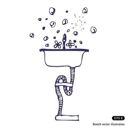 cocina limpieza: Dibujado a mano la vajilla