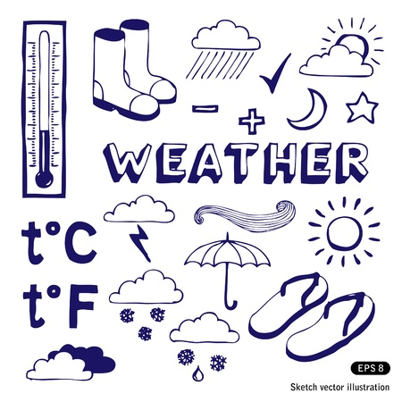 meteo:   Weather icons set  Hand drawn vector isolated on white