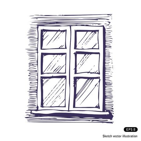 Fenster clipart schwarz weiß  Fenster Hand Gezeichnet Vektor Isoliert Auf Weiß Lizenzfrei ...