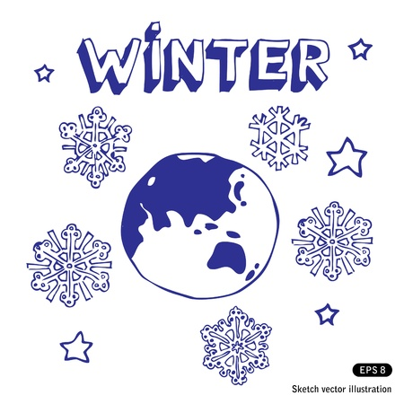 Winter Earth.  Vector
