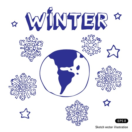 Winter Earth. Stock Vector - 13894632