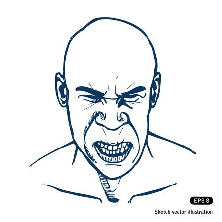 Angry man. Hand drawn