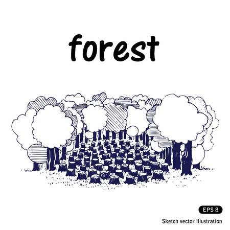 deforestation:   Deforestation. Hand drawn isolated on white