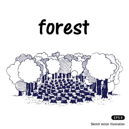 deforestacion: La deforestaci�n. Dibujado a mano aislado en blanco Vectores