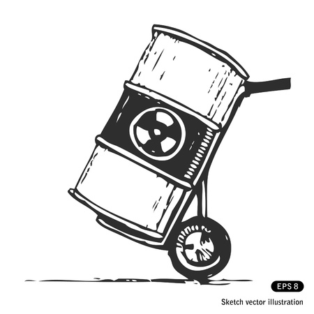 Nuclear waste in a barrel. Hand drawn isolated on white Illustration