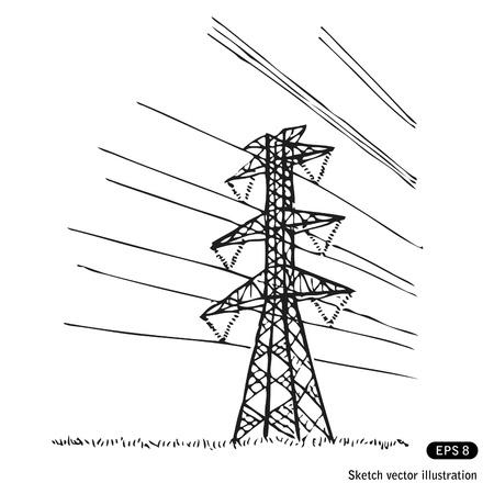 torres de alta tension: Las l�neas el�ctricas. Dibujado a mano aislado en blanco