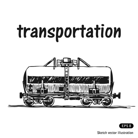 Tank car. Hand drawn isolated on white Vector