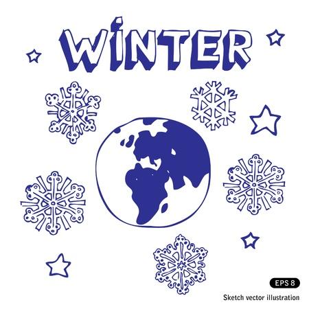 earth in hand: Invierno Tierra. Dibujado a mano aislado en blanco
