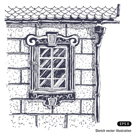 hands free:   Beautiful window on the brick wall near edge of house    Illustration