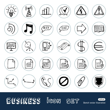 Business and media web icons set Stock Vector - 14059398