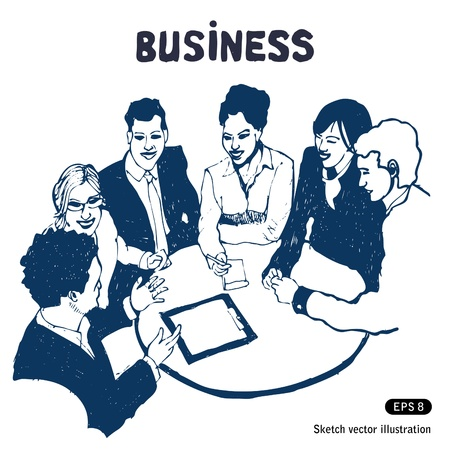 discussing: Business group portrait - Six business people working together   Illustration