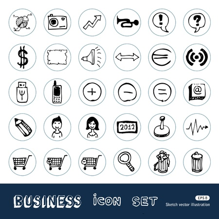 Business, media and social network web icons set Stock Vector - 14059399
