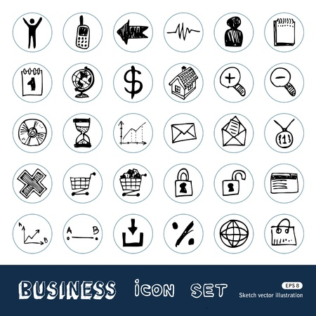 Business, shopping and work web icons Stock Vector - 14059359