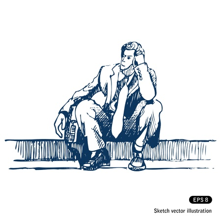 negative thinking:   Businessman sitting on step   Illustration