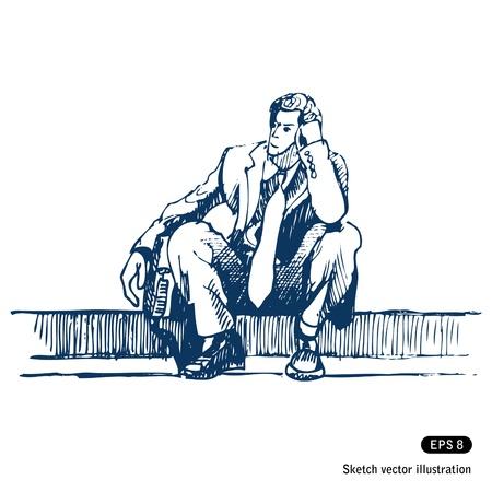 empresario triste: Hombre de negocios sentado en el paso Vectores