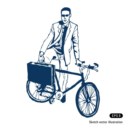 Businessman with his case and bike  Stock Vector - 14059367
