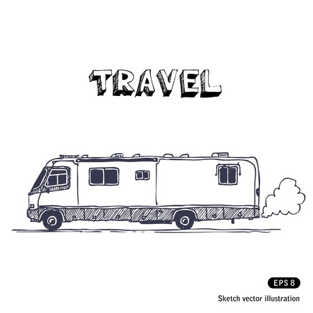 family trip:   Camper Illustration