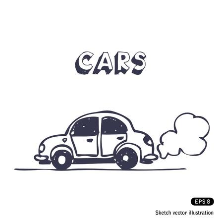 fumes:   Cartoon car blowing exhaust fumes.