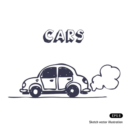 carro caricatura: Cartoon coche soplando gases de escape.