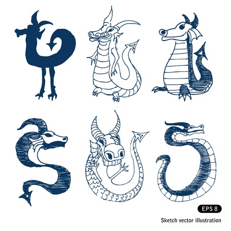 Cartoon little dragon set. Vector