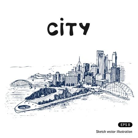 the center of the city: Paisaje de la ciudad vector Dibujado a mano aislado en blanco