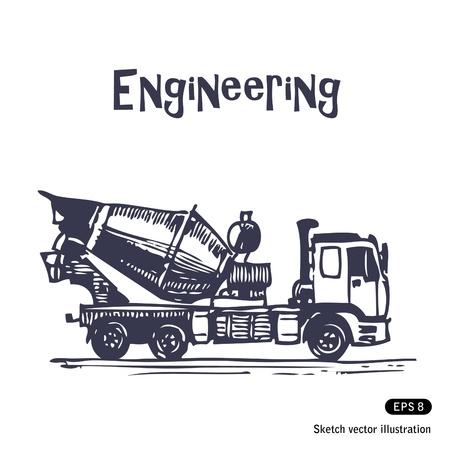 materiali edili: Concrete mixer truck vettore disegnata a mano isolato su bianco Vettoriali