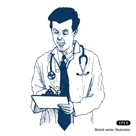 medical record: Doctor Hand drawn isolated on white Illustration