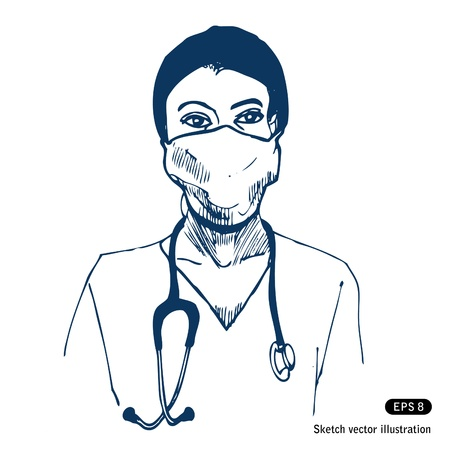Doctor  Hand drawn isolated on white Stock Vector - 14162503