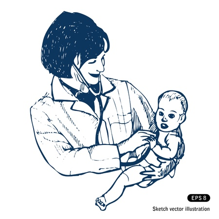 Doctor with baby  Hand drawn isolated on white Vector