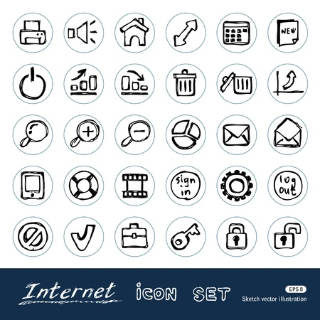 sketches: Doodle Internet and finance icons set Hand drawn isolated on white