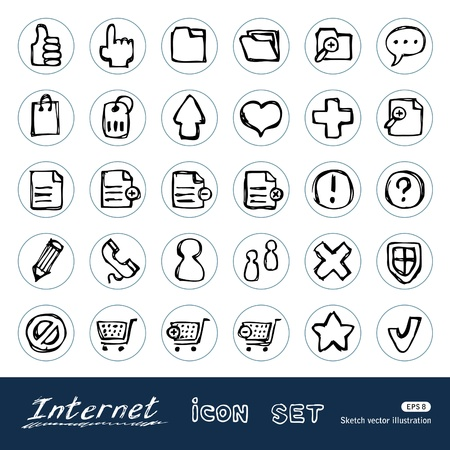 Doodle Internet web icons set  Hand drawn isolated on white Vector