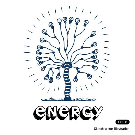 Energy tree of light bulbs  Hand drawn isolated on white Vector