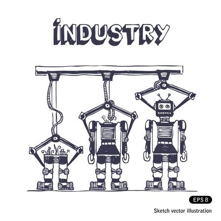 Fábrica está fazendo robôs vetor tirado mão isolado no branco Ilustra��o